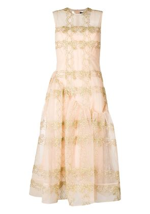 Simone Rocha embroidered tulle dress - Nude & Neutrals