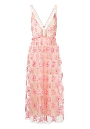 Manning Cartell embroidered sheer mid dress - Pink & Purple