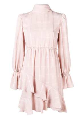 See By Chloé checked high neck ruffle dress - Pink & Purple