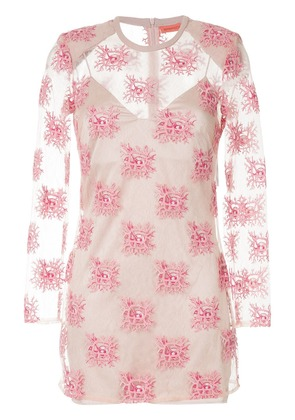 Manning Cartell embroidered sheer mini dress - Pink & Purple