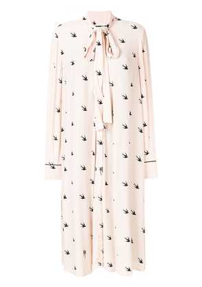 McQ Alexander McQueen swallow-print midi shirt dress - Pink & Purple