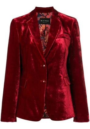 Etro single-breasted velour blazer - Red