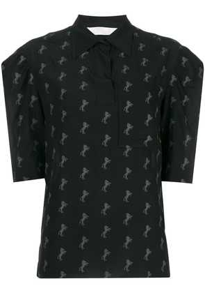 Chloé horse embroidered top - Black