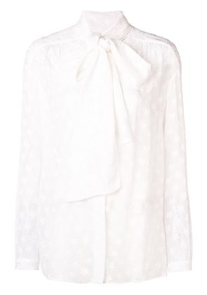 Dondup star embroidered bow blouse - White