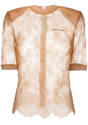 Off-White lace detailed top - Nude & Neutrals