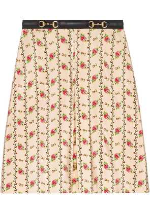 Gucci Rose print silk skirt - White