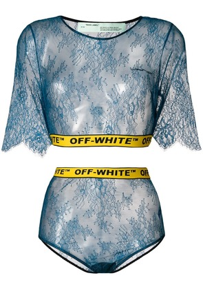 Off-White two-piece lace set - Blue