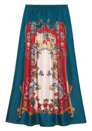 Gucci Silk skirt with Boudoir print - Blue