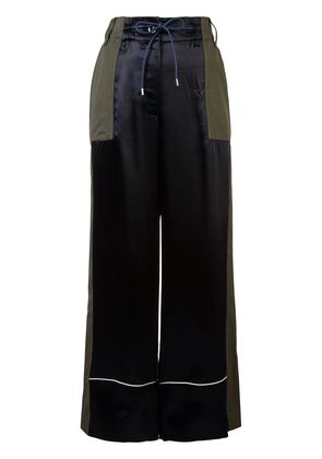 Sacai patchwork palazzo trousers - Blue