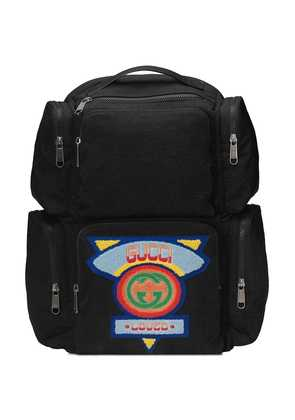Gucci Large backpack with Gucci '80s patch - Black