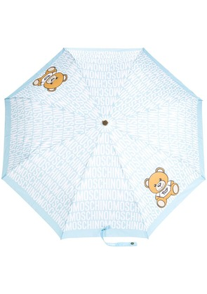 Moschino teddybear logo print umbrella - Blue