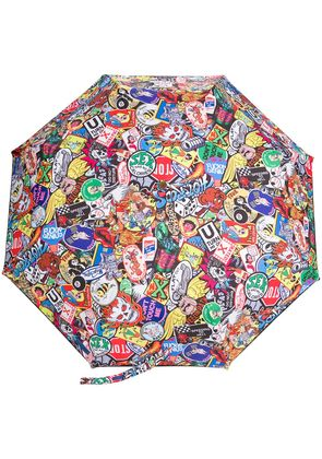 Moschino sticker print umbrella - Black