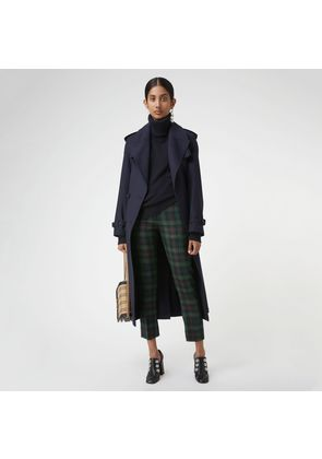 Burberry Zip Detail Check Wool Blend Trousers, Blue