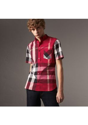 Burberry Short-sleeve Check Stretch Cotton Blend Shirt, Red