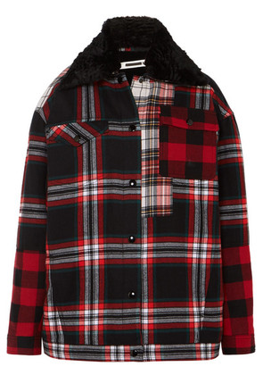 McQ Alexander McQueen - Oversized Faux Fur-lined Tartan Cotton-twill Jacket - Red