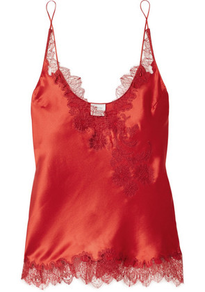 Carine Gilson - Chantilly Lace-trimmed Silk-satin Camisole - Red