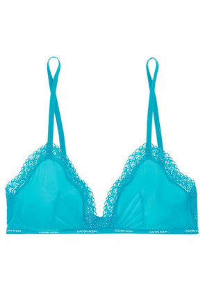 Calvin Klein Underwear - Sheer Marquisette Lace-trimmed Stretch-mesh Soft-cup Triangle Bra - Turquoise