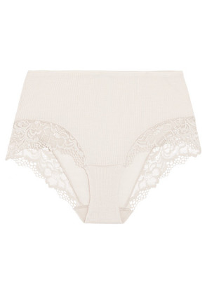 Hanro - Lillian Lace-trimmed Ribbed Wool And Silk-blend Briefs - Stone