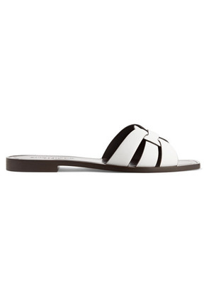 Saint Laurent - Nu Pieds Woven Leather Slides - White