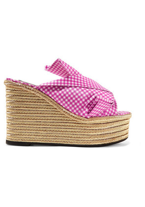 No. 21 - Knotted Gingham Twill Espadrille Wedge Sandals - Fuchsia
