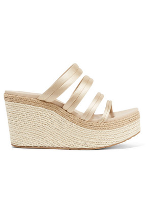 Pedro Garcia - Dante Satin Espadrille Wedge Sandals - Cream