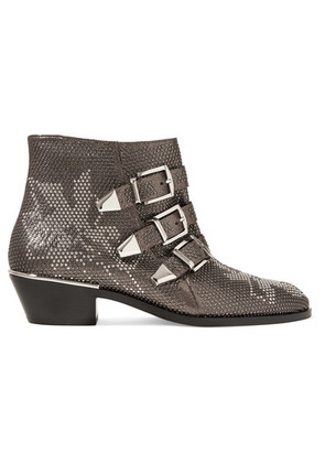 Chloé - Susanna Studded Leather Ankle Boots - Charcoal