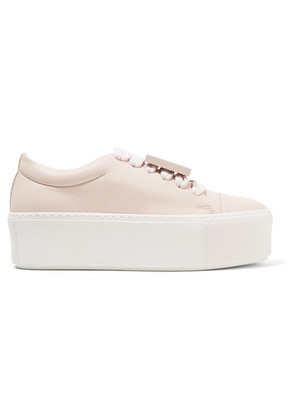 Acne Studios - Drihanna Plaque-detailed Leather Platform Sneakers - Pastel pink