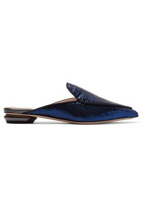 Nicholas Kirkwood - Beya Sequined Leather Slippers - Indigo
