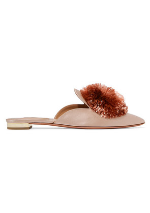Aquazzura - Powder Puff Pompom-embellished Satin Slippers - Pastel pink