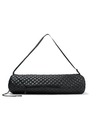 MZ Wallace - Leather-trimmed Quilted Shell Yoga Mat Bag - Black