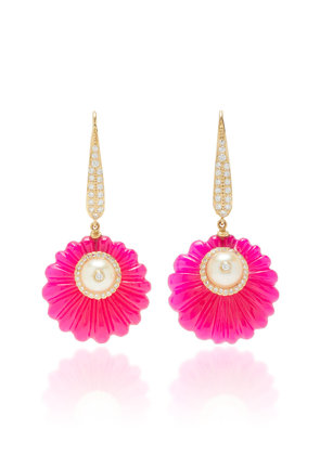 Hanut Singh One-Of-A-Kind Carved Flower Discettes Earrings