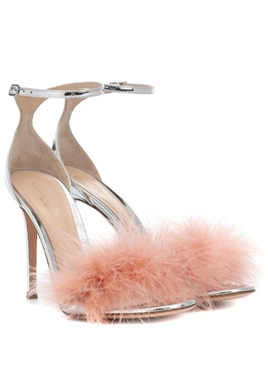 Bliss 100 feather-trimmed sandals