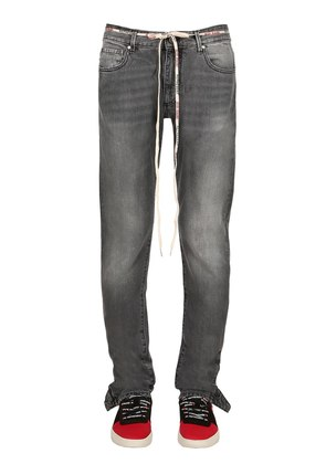POPPER COTTON DENIM JEANS