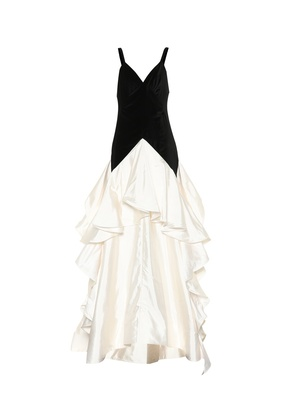Tiered cotton and velvet gown