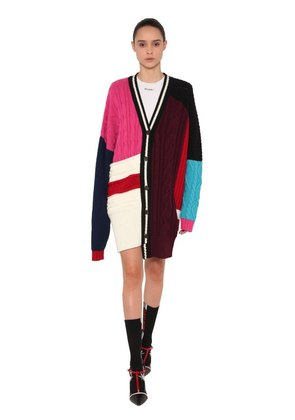 OVERSIZED PATCHWORK WOOL CARDIGAN