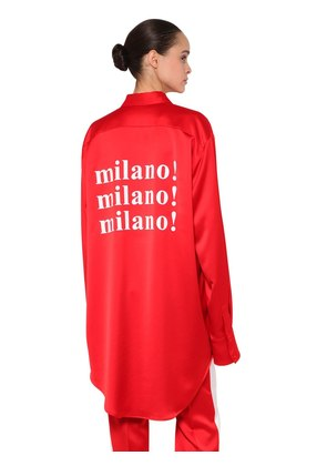OVERSIZED MILANO PRINT SATIN SHIRT