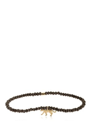 YELLOW GOLD PANTER BEADED BRACELET