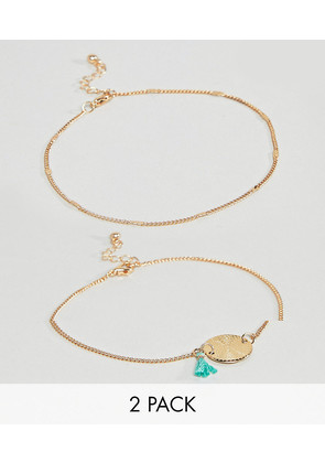 ASOS DESIGN Pack Of 2 Textured Disc And Tassel Chain Anklets - Gold