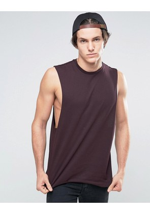 ASOS Sleeveless T-Shirt With Dropped Armhole In Oxblood - Oxblood