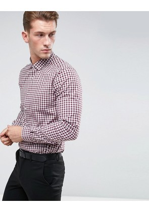 ASOS Smart Stretch Slim Poplin Check Shirt In Red - Red