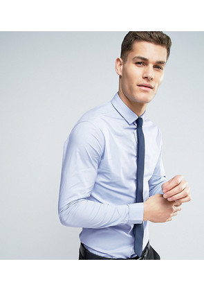 ASOS Stretch Slim Shirt In Blue With Navy Tie - Blue