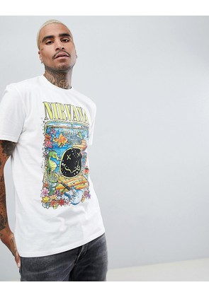 ASOS Nirvana Longline Band T-Shirt With Floral Text Print - Off white