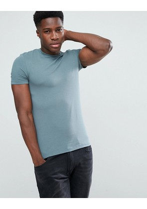 ASOS Extreme Muscle Fit T-Shirt With Crew Neck In Blue - Otto