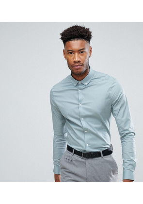 ASOS TALL Skinny Shirt In Slate With Button Down Collar - Slate blue