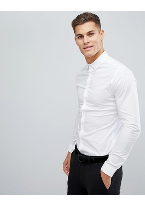 ASOS DESIGN skinny shirt in white with button down collar - White