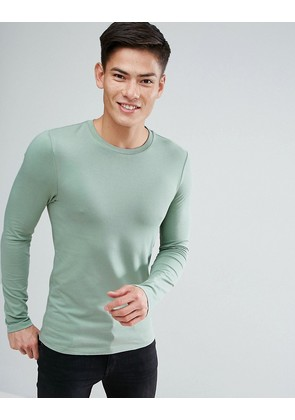 ASOS Extreme Muscle Fit Long Sleeve T-Shirt With Crew Neck - Grasshopper