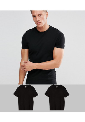 ASOS 2 Pack Muscle Fit T-Shirt In Black With Crew Neck SAVE - Black
