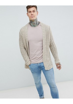 ASOS Textured Cardigan In Beige - Ecru