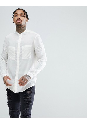 ASOS Regular Fit Super Longline Viscose Grandad In White - White