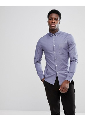 ASOS Casual Stretch Skinny Oxford Shirt in Blue Grey - Blue